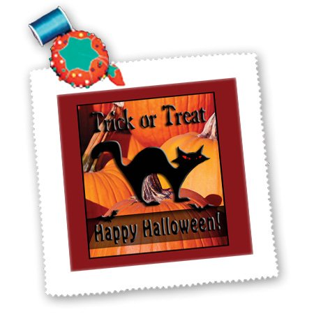 qs_24365_2 Beverly Turner Halloween Design - Black Cat on Pumpkins Trick or Treat Happy Halloween - Quilt Squares - 6x6 inch quilt square