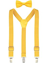 Lilax Boys Solid Color Adjustable Elastic Suspender & Bow Tie for Kids and Baby 22' Yellow