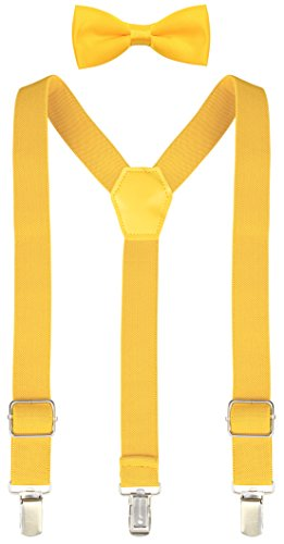 Lilax Boys Solid Color Adjustable Elastic Suspender & Bow Tie for Kids and Baby 22'' Yellow