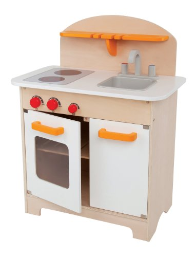 (Hape Gourmet Kitchen Kid's Wooden Play Kitchen in White)