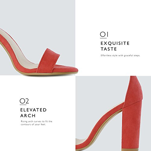 Red Women's DailyShoes Wedding Toe Chunky Sandal Buckle Party Women's Suede Shoes Evening Strap Open Pumps Ankle with Heel aqAUpxdwA