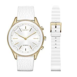 DKNY Women's 'Woodhaven Hybrid' Quartz Stainless Steel and Leather Smart Watch, Color:White (Model: NYT6101)