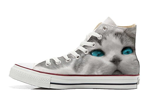 cat All White personalisierte Schuhe Customized with Hi Handwerk eyes Star blue Converse Schuhe dU8xwzdq