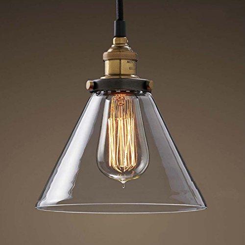 Vintage Industrial Glass Pendant Ceiling Light Pendant Light Hanging Lamp Droplight for Coffee Bar Restaurant Home Kitchen Bedroom, Amber Glass,Cone Shape -