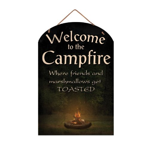 Ohio Wholesale Camp Fire Welcome Slate Wall Hanging - Black Slate Welcome Sign