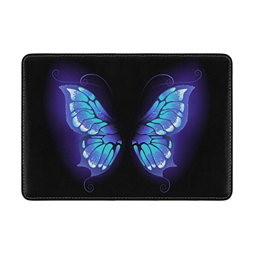 ALAZA Purple Butterfly Black Leather Passport Holder Cover Case Travel One Pocket by ALAZA (Image #1)