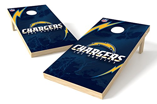 Wild Sports NFL Los Angeles Chargers 2' x 4' Authentic Cornhole Game Set (San Outdoor Wood Diego Furniture)