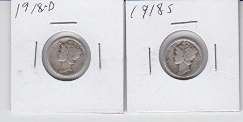 1917 D & S Mercury Silver Dimes (2) Circulated (1916 D Mercury Dime)