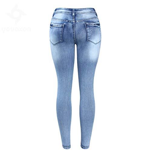 True Vita Blue Denim Pencil Media Classico Skinny Pantaloni A Used Donna Effetto In Elasticizzata Jeans qwxx6vXU