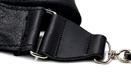 Soft Leather Clip-On Hook Banjo Strap - Black