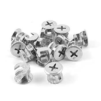 uxcell 15 Pcs Silver Tone 13mm Dia Head Furniture Connecter Cam Fittings