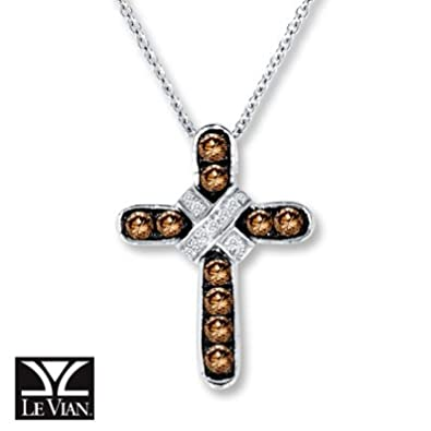 Amazoncom Jared Chocolate Diamonds13 ct tw Cross Necklace14K