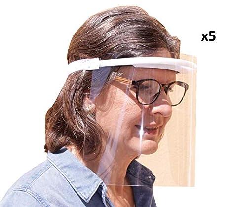 KMINA Pro - Pantalla Protección Facial Transparente (Pack x5 uds.), Visera Protección Facial, Protector Facial con Separación y Agujeros de Ventilación, Fabricado en España