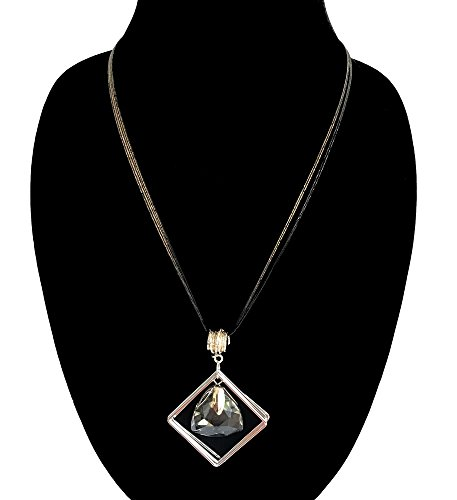 Nataliya Water Drop Pendant Necklace (four square small teardrop) (Square Pendant)