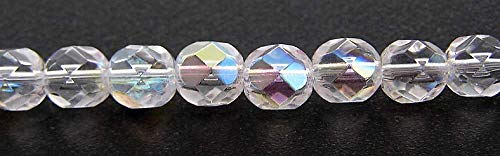 4mm, 600pcs, Crystal AB, Czech Fire Polished Round Faceted Glass Beads