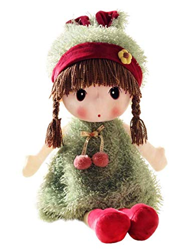 HWD Kawaii 17 inch Stuffed Plush Girl Toy Doll.Good Dolly Gift for Kids Baby Lover.(Green) -