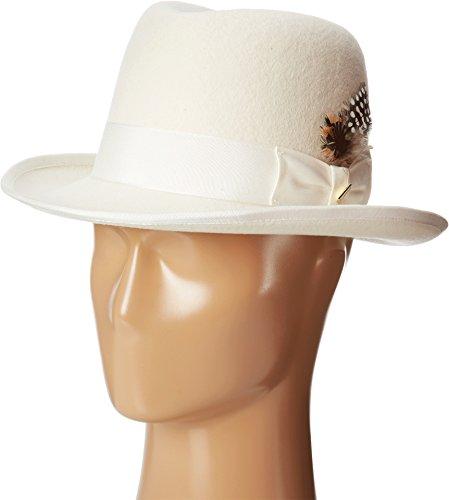 Brim Homburg - STACY ADAMS Men's Homburg Wool Felt Hat w/Grosgrain Band Ivory LG