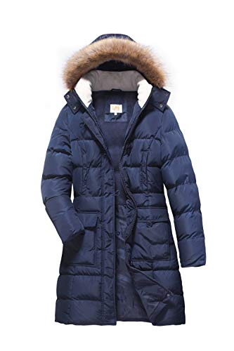 ELORA Women's Winter Puffer Mid Length Cargo Pocket Coat Fur Trim Removable Hood,Navy, L ()
