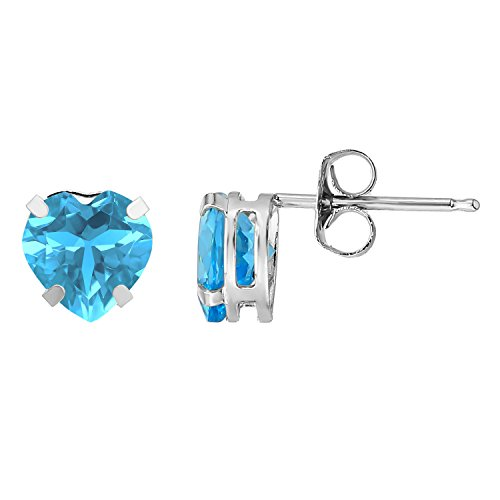 6mm Heart Blue Topaz Earring - 1.90 cttw Heart 6MM Natural Blue Topaz in 925 Sterling Silver Stud Earrings