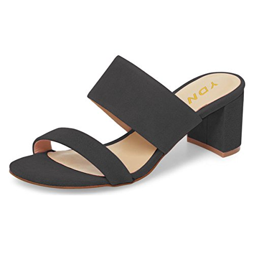 YDN Women Block Low Heel Mules Slip on Pumps Open Toe Slide Sandals Slipper Shoes Black