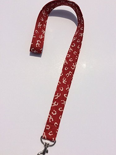 Horseshoe Lanyard Keychain ID Badge Fabric Key Keeper Necklace Red Horse