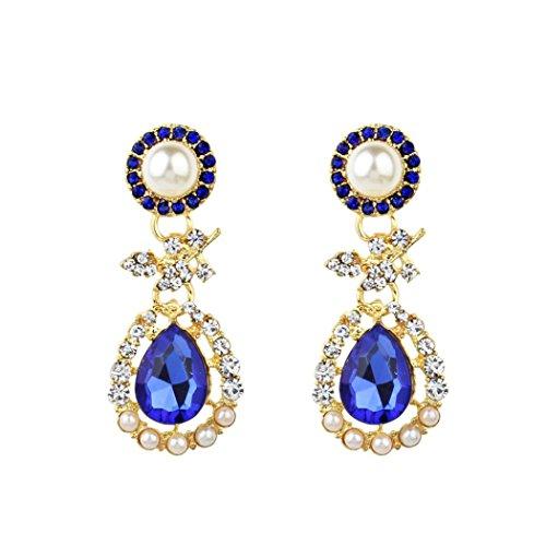 DENER Women Girls Ladies Bohemia Water Drop Ear Clips Stud Hoop Dangle Drop Earrings Eardrop ()