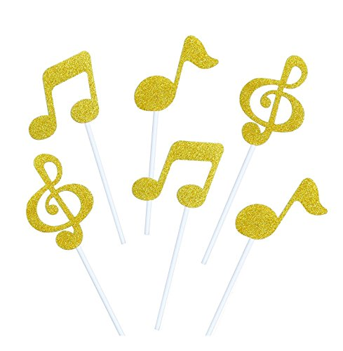 Astra-Gourmet-24-Pack-Cupcake-Toppers-Gold-Glitter-Music-Note-Cupcake-Muffin-Topper-Picks-Cake-Decoration-Baby-Shower-Birthday-Party-Favors