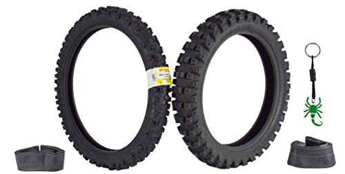 Pirelli Scorpion MX32 Mid Hard Dirt Bike 80/100-21 Front 110/90-19 Rear Motorcycle Tires Set w Tubes & Authentic Pirelli Scorpion Key Chain