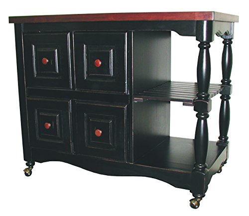 (Sunset Trading DCY-CRT-03-BCH Black Cherry Selections Kitchen Cart, Four Drawers, Antique)