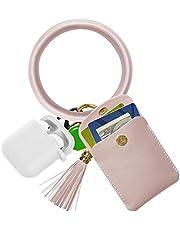 SHANSHUI Keychain Bracelets,Wristlet Bracelet Circle Key Ring Bangle with Tassel Key Ring Chain Credit Card Holder for Women