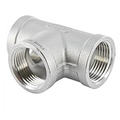 Conector de rosca como tubo con forma de codo de 90 grados de acero inoxidable 316 con racor de rosca hembra x hembra