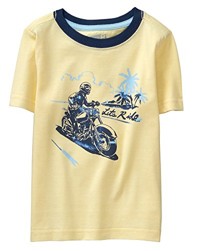 Ride Sleeve Short Shorts (Crazy 8 Boys' Toddler Short Sleeve Spring Graphic TEE, Yellow Let's Ride, 3T)