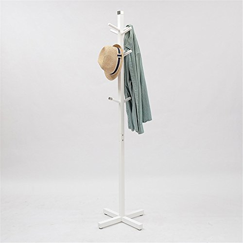 Simonshop Standing Wood Coat Hat Rack Scarf Cloth Jacket Hanger with 10 Hooks for Bedroom & Living Room (white 1) by Simonshop