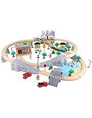 DWLXSH Conjunto de Juguete de Madera del Tren con el Tren de Alta Parte Nivel, Juguetes educativos de Madera del Tren 95 Piezas Mina Tráfico Traje Rompecabezas for niños