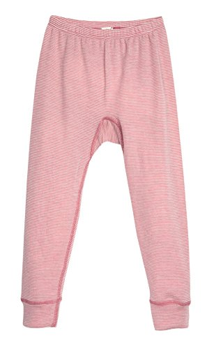 Organic Wool & Silk Long John Pants (116 (4-5 yrs), Rose Stripes)