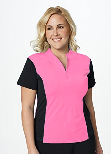 HydroChic Modest Sport & Swim Athletic Zip Top XL in Pink/Black