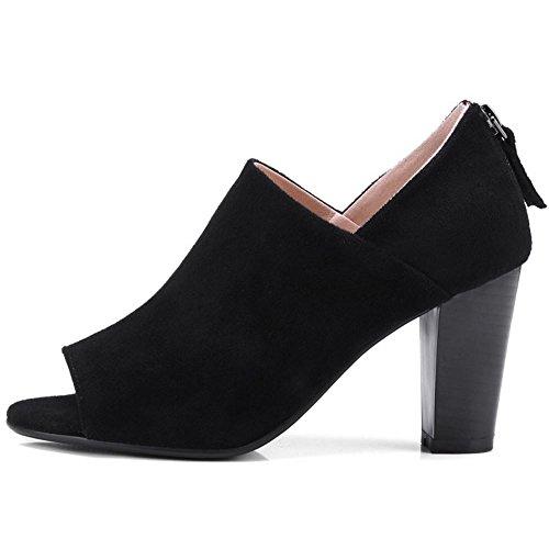 Classiques Ouvert Les Chaussures La Taoffen À Cour Bout De Noirs Talons Femmes CBqBHx6