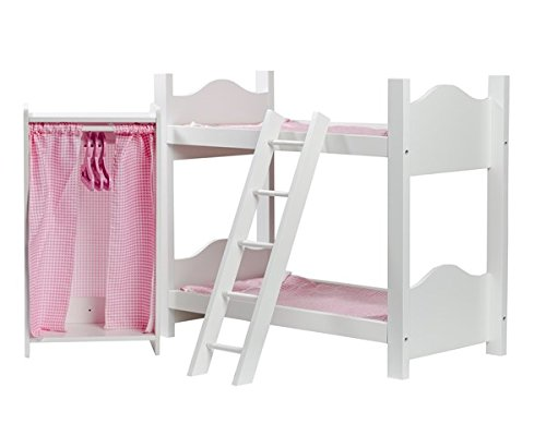 Cinderella USA Doll Bunk Bed with Ladder and Armoire (18 Inch Doll Cheap Bunk Beds)