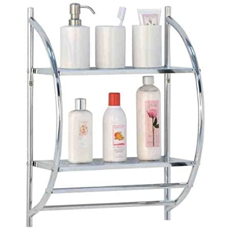 2 Tier Chrome Bathroom Shelf Rack With Double Towel Rail By Rubiesofuk