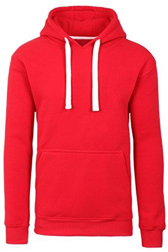 JC DISTRO Plus Size Hipster Hip Hop Basic Sweatshirts Pullover RED Hoodie Jacket 5XL (Red Classic Hoody Sweatshirt)
