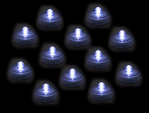 Submersible Underwater LED Lights 12-Pack Waterproof Tea Lights For Wedding, Party, Pond, Fountain or Home Decor By Royal Imports (Pack of 12)