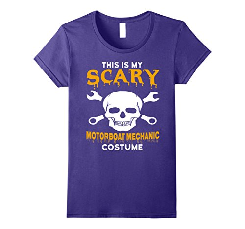 Mechanics Halloween Costume (Womens Scary Motorboat Mechanic Halloween Costume T-Shirt Medium Purple)