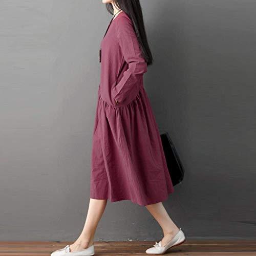 Mujer Larga Manga Talla Lino Largo Grande large Xx Para De Sueltos Rojo Zhrui Y Algodón color Tamaño Vestido Suelto C0qgnwxWBz