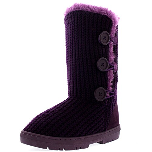 Fur Snow Fully Purple Button Womens Triplet Winter Lined Waterproof Boots Knitted qE0ctc