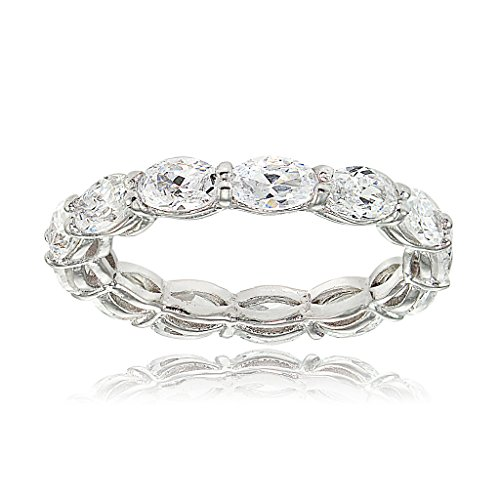 Sterling Silver Cubic Zirconia 5x3mm Oval-cut Eternity Band - Oval Band Ring