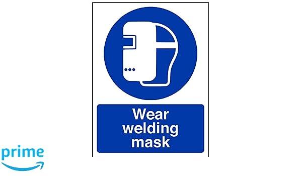 vsafety 41048 an-r desgaste máscara de soldadura obligatorio EPI Sign, plástico rígido, vertical, 150 mm x 200 mm, color azul: Amazon.es: Industria, ...