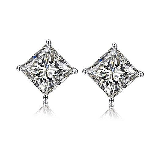 LicLiz Sterling Silver Princess Cut Square Cubic Zirconia Stud Earrings for Women 5mm (Silver Cut Stone Earring)