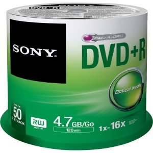 Sony 50DPR47SB 4.7GB 16x DVD+R Recordable Discs 50 Pack Spindle