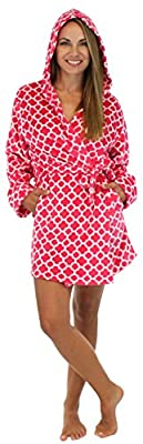 PajamaMania Women's Hooded Fleece Short Robe