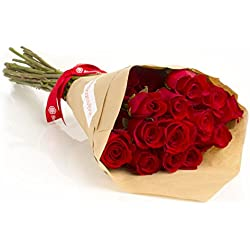24 Long Stem Red Roses Hand-tied Bouquet for Valentine's Day -No Vase